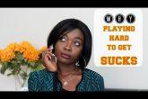 black woman playing hard to get