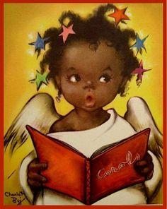 Black girl singing comic